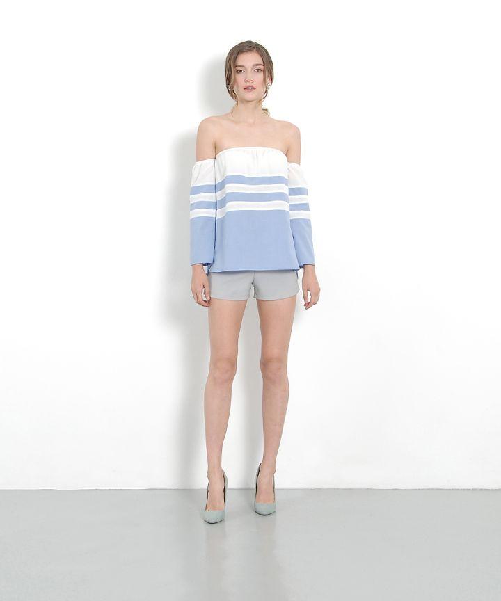 Bonzai Off-Shoulder Blouse - Pale Blue