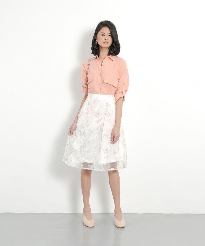 Fleur Organza Midi Skirt - Cream