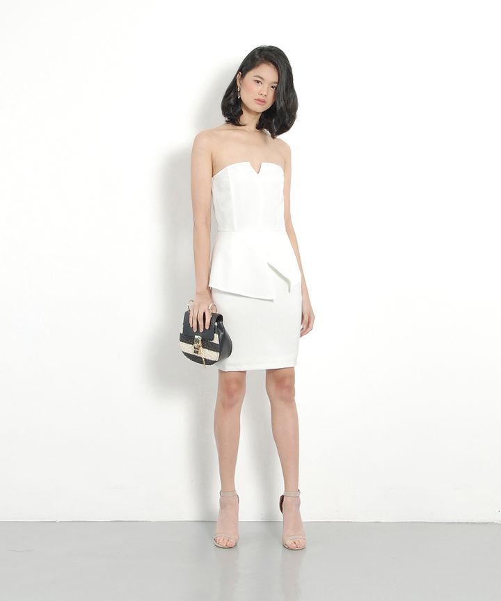 Lucid Peplum Dress - White