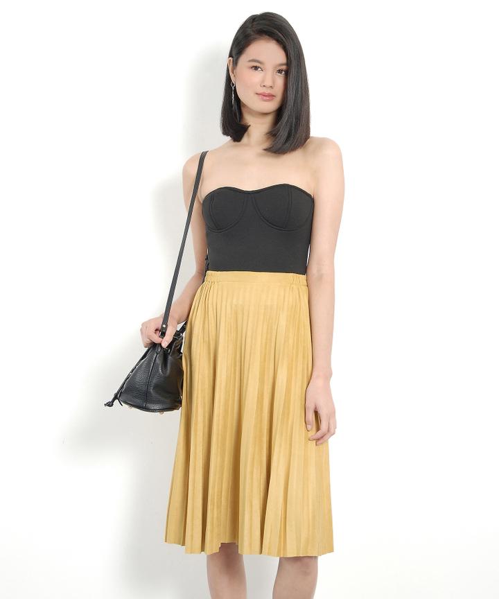 Nevada Suede Midi Skirt - Pale Mustard
