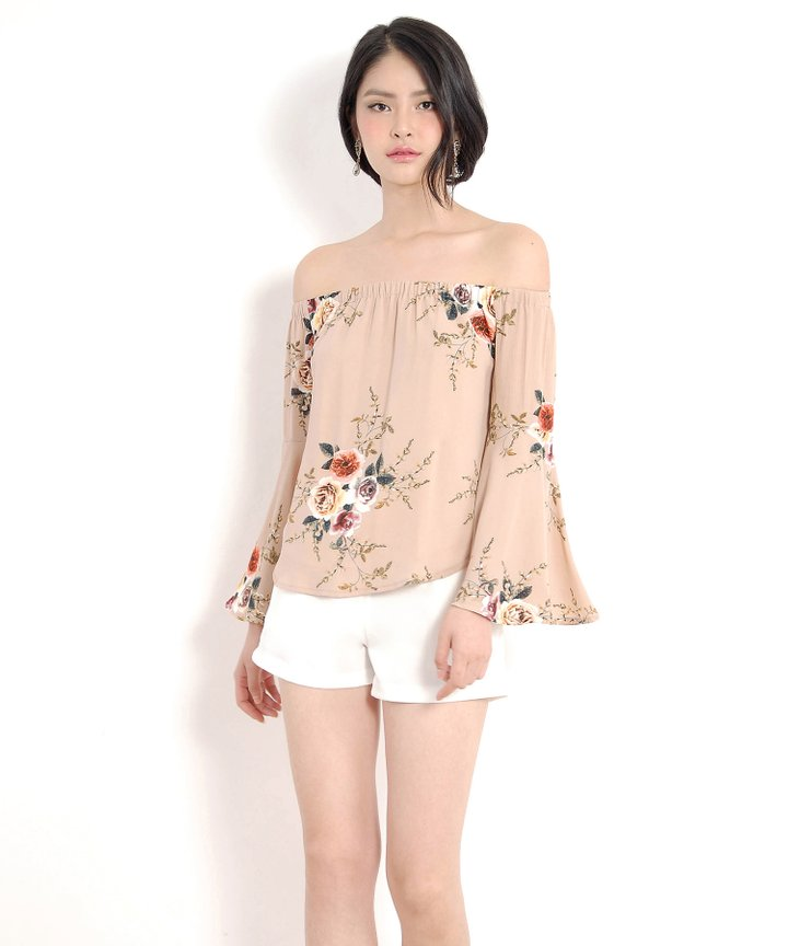 Haruno Floral Off-Shoulder Top - Nude (Restock)
