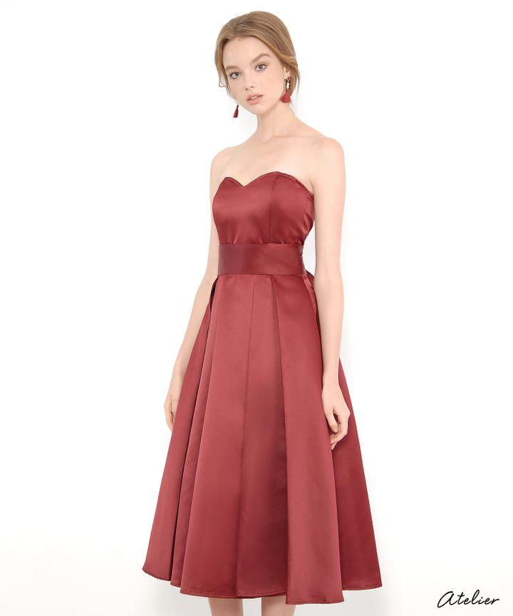 HVV Atelier Victoria Bustier Dress - Burgundy