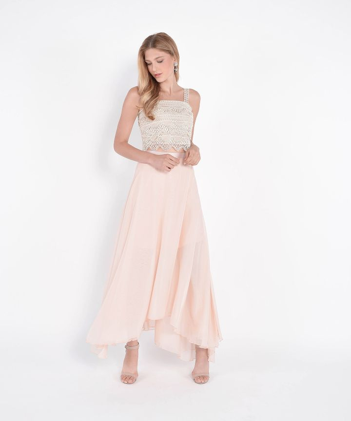 Windsor Asymmetrical Maxi Skirt - Pearl Blush