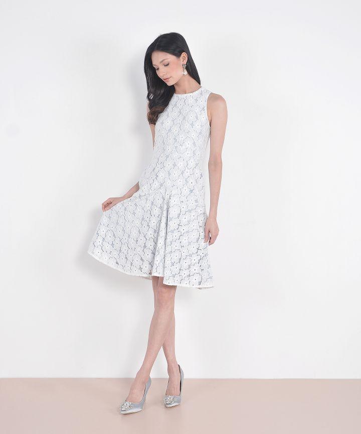 Delancey Lace Midi Dress- Pale Blue
