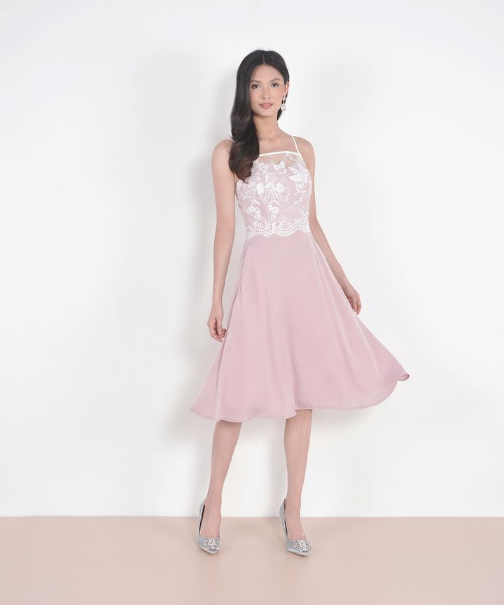 Isabelle Lace Overlay Midi - Pale Pink