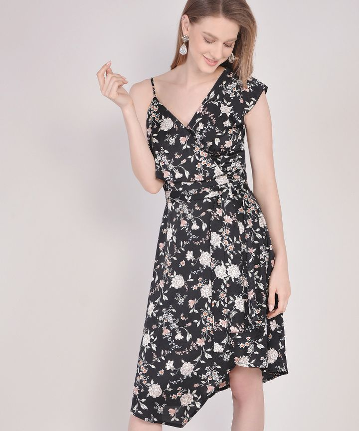Blanchett Floral Asymmetrical Midi Dress - Black