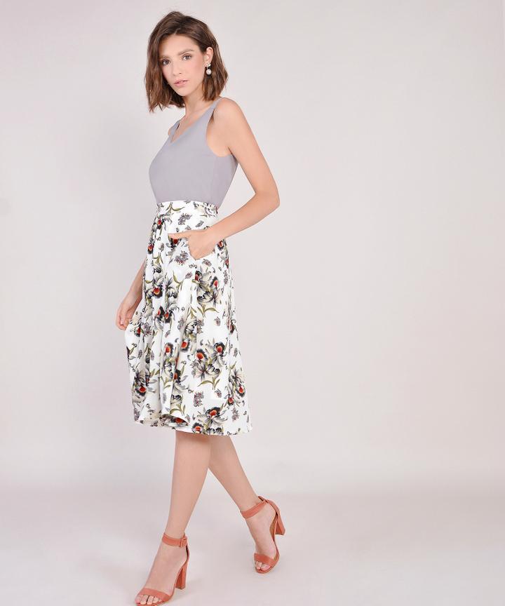 Heather Floral Midi Skirt - White