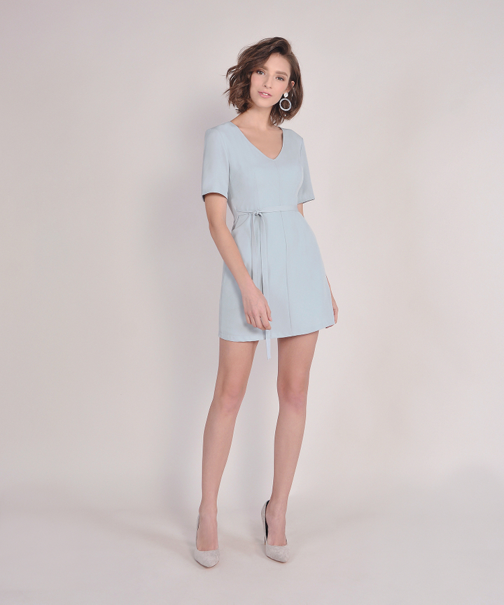 Ingrid Shift Dress - Pale Blue