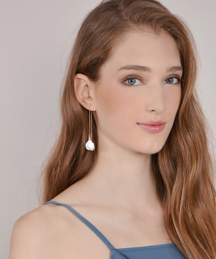 Floral Drop Earrings - White