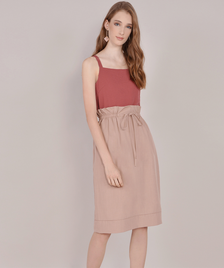 Eliza Paperbag Skirt - Rose Beige