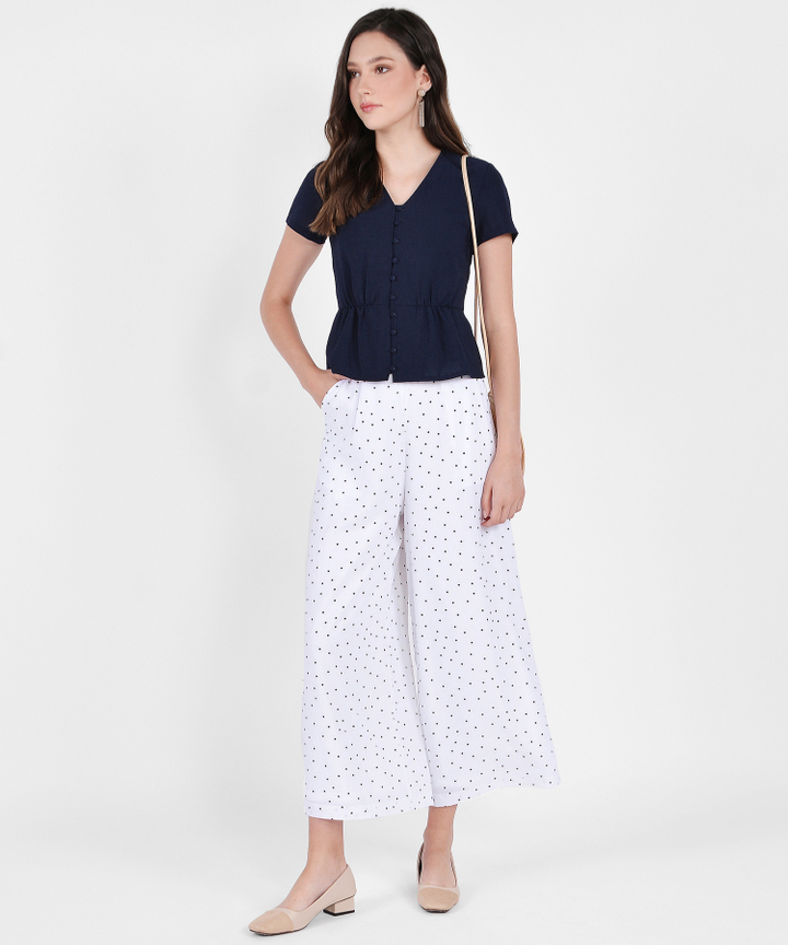 Orion Polka Dot Trousers - White