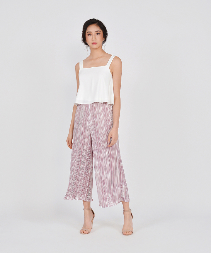 Pierrot Pleated Culottes - Dust Pink