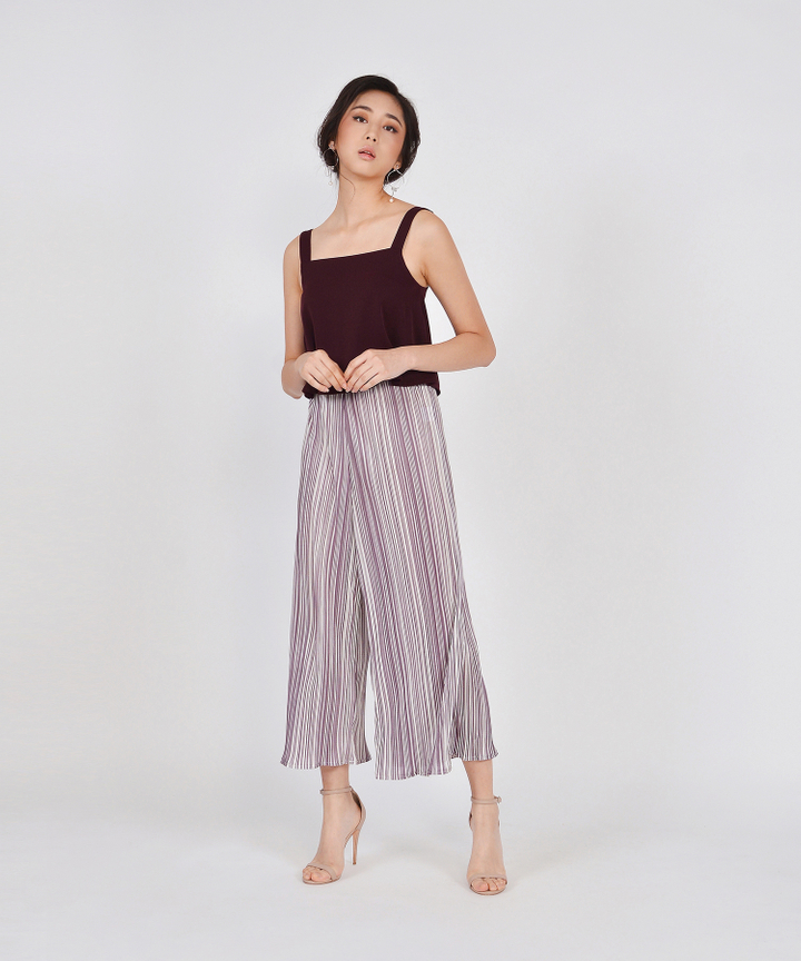 Pierrot Pleated Culottes - Lilac Grey
