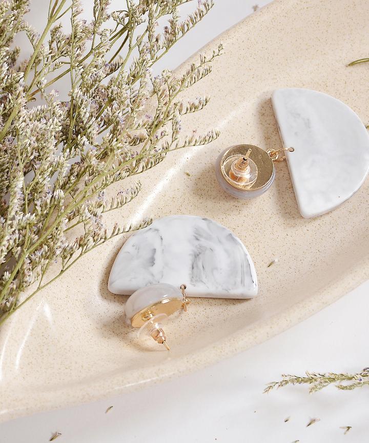 Semi Circle Marble Earrings