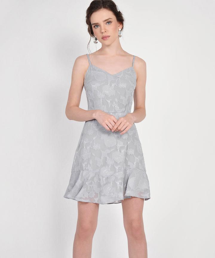Clair Chiffon Jacquard Dress - Pale Grey