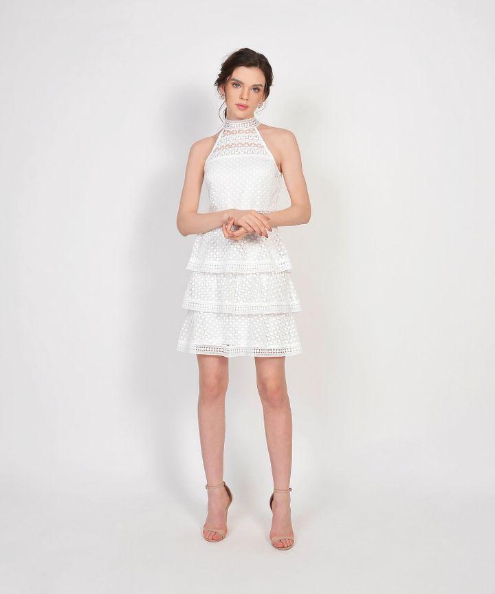 Lisbeth Crochet Tiered Dress - White