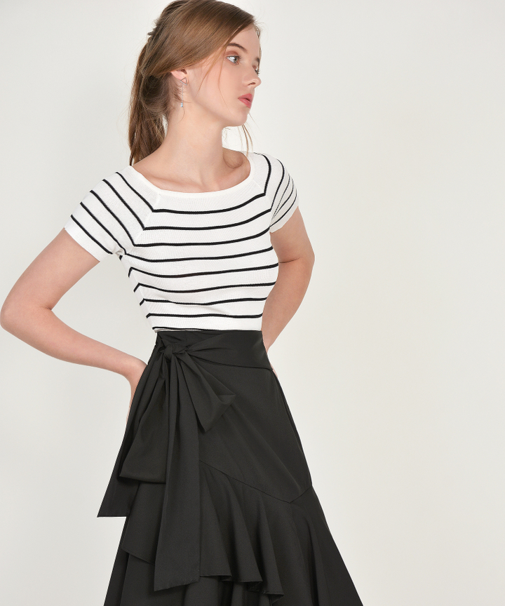 Leroy Striped Knit Tee - White