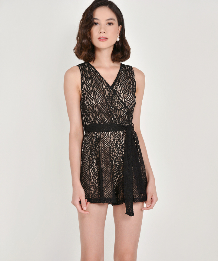 Carrie Lace Playsuit - Black