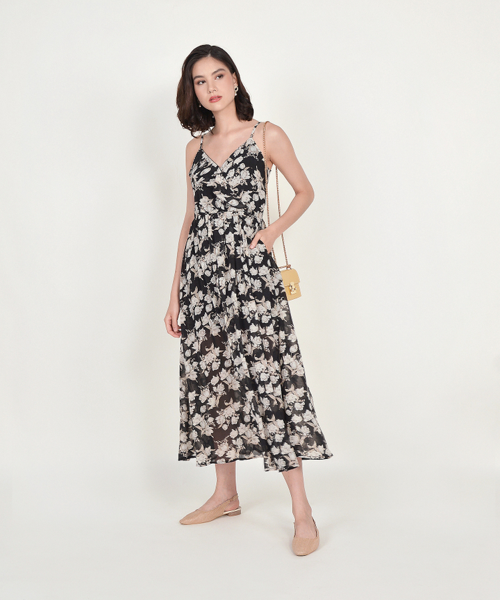 Loretta Floral Maxi Dress - Black