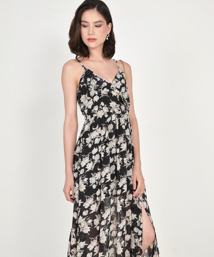 Loretta Floral Maxi Dress - Black