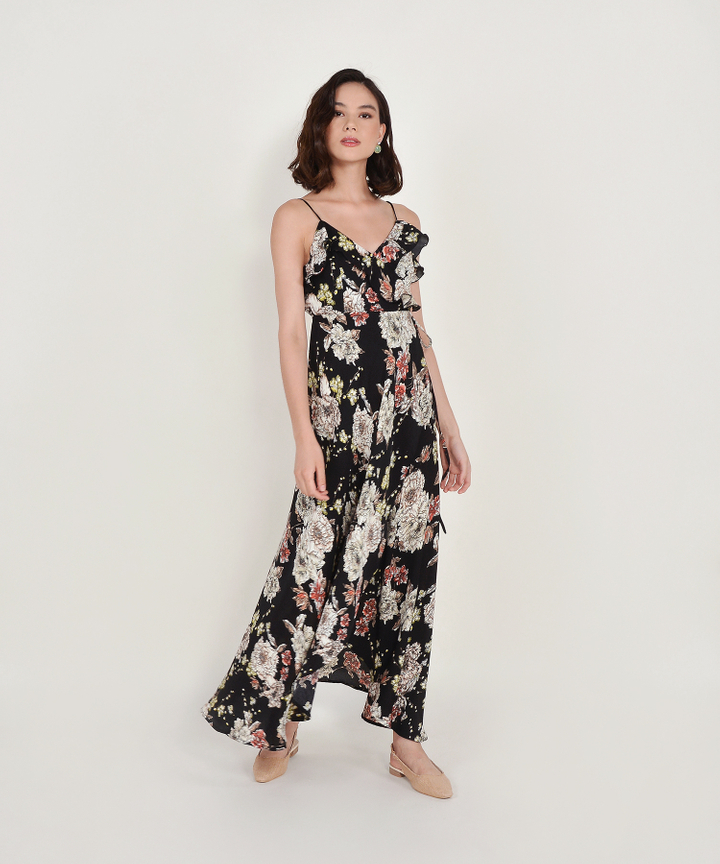 Louisa Floral Overlay Maxi Dress - Black
