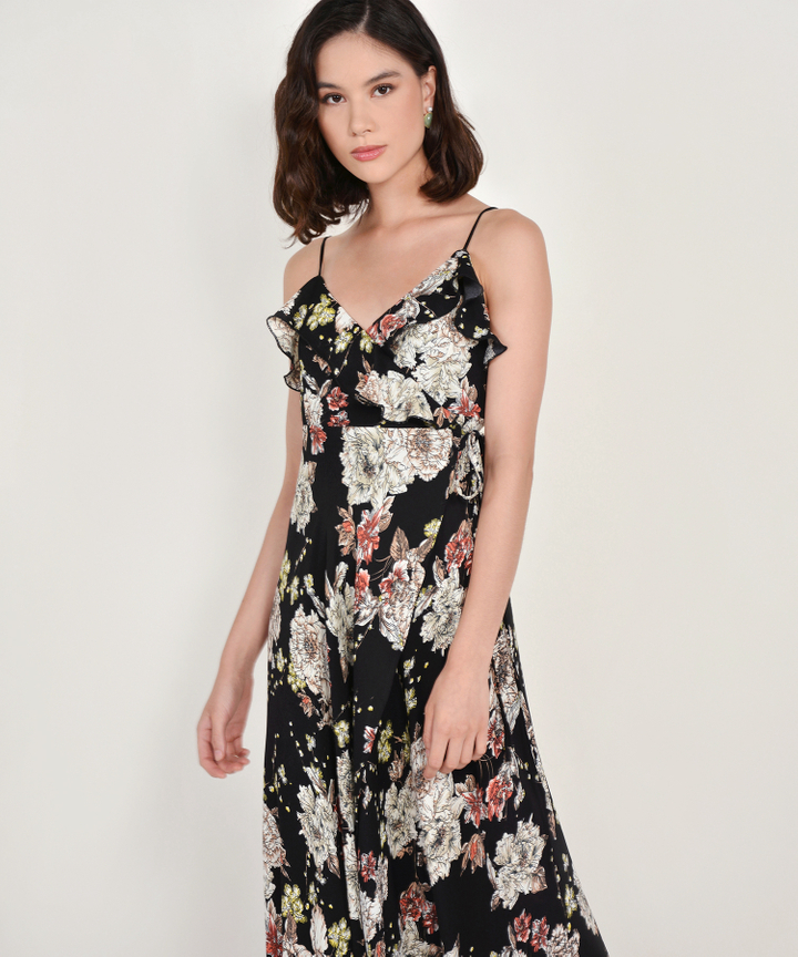 Louisa Floral Overlay Maxi Dress - Black