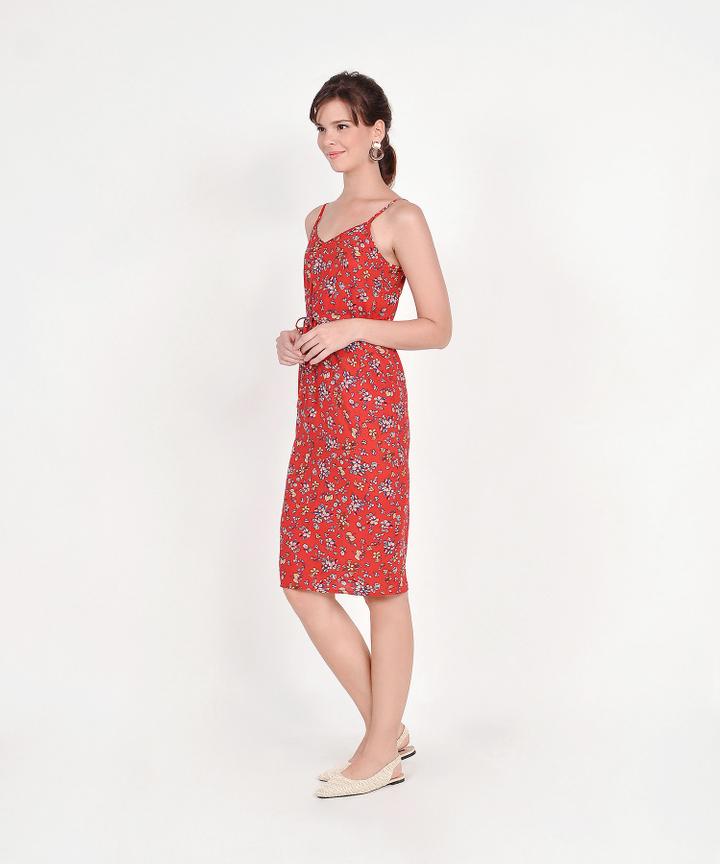 Arden Floral Drawstring Midi Dress - Red