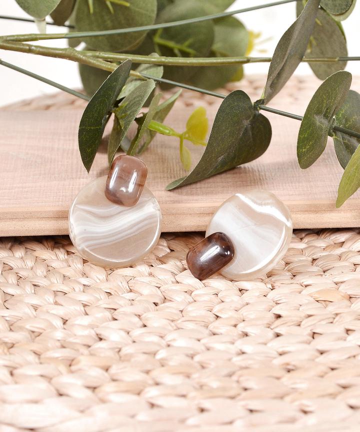 Caramel Circle Earrings - Brown