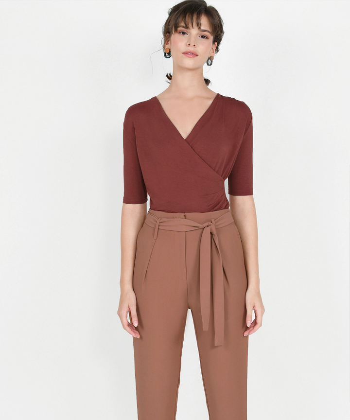 Pastiche Overlay Blouse - Redwood
