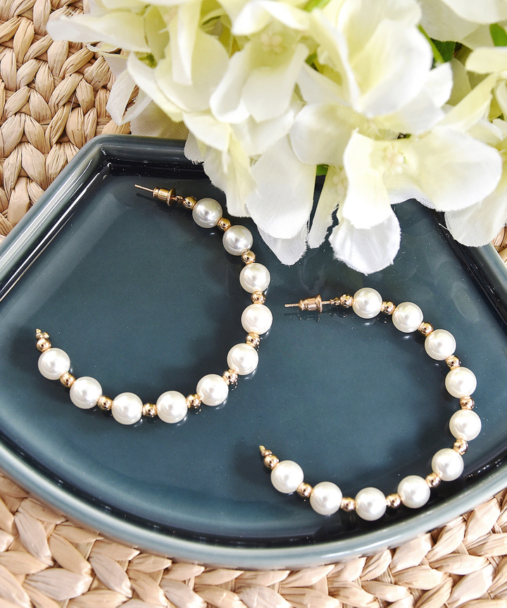 Pepa Pearl Hoop Earrings (Restock)