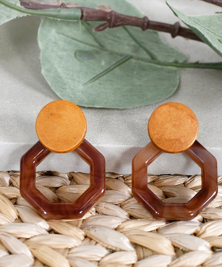 Talia Marble Earrings - Dark Brown