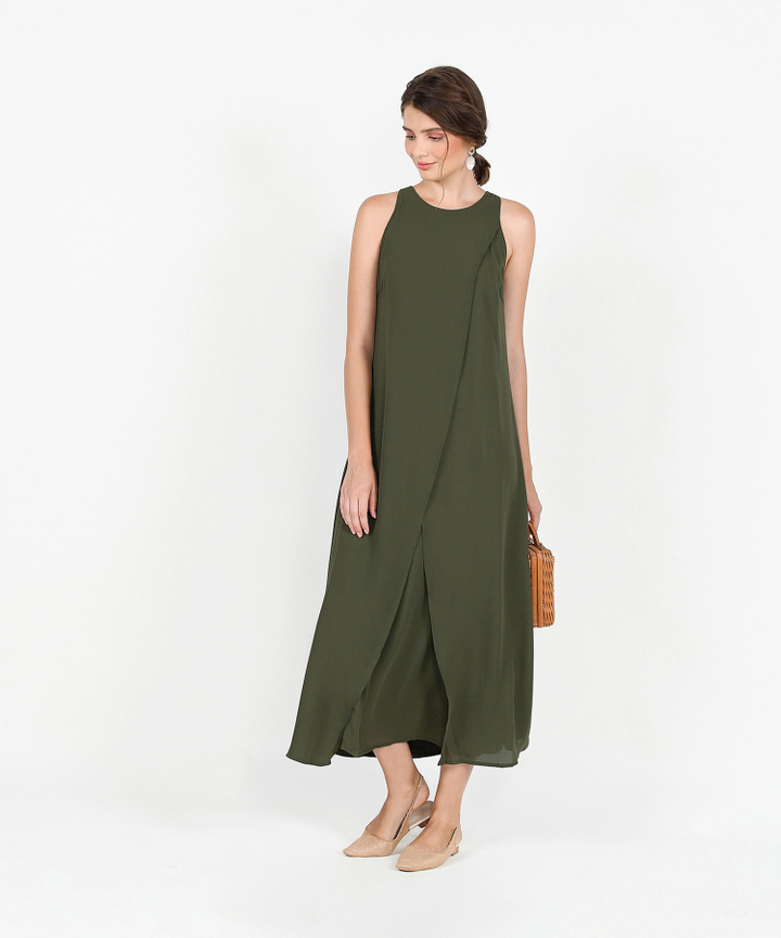 Allegro Overlay Maxi Dress - Olive