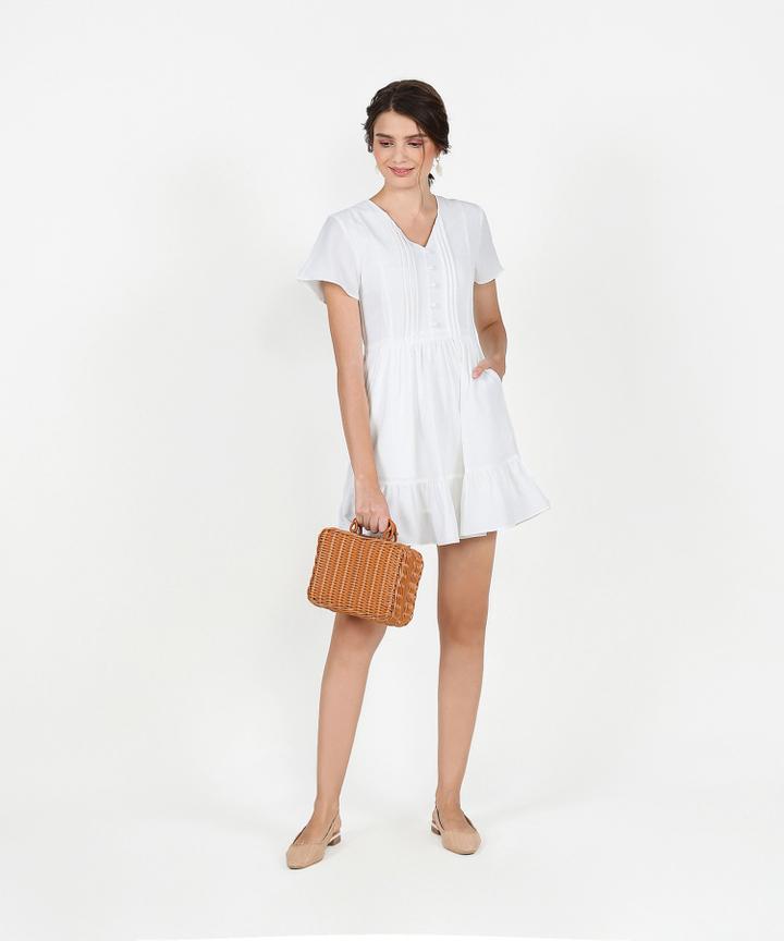 Felicity Gathered Dress - White
