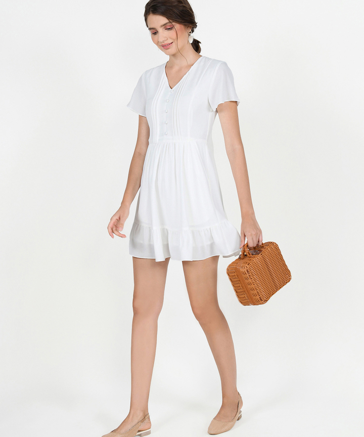 Felicity Gathered Dress - White