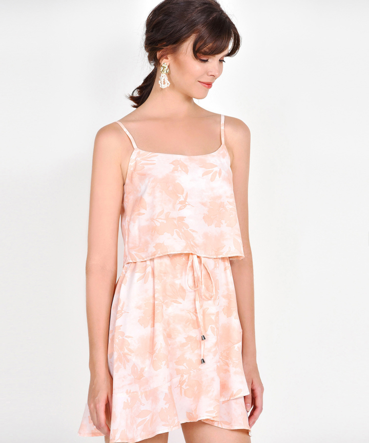Elina Watercolour Drawstring Dress - Peach