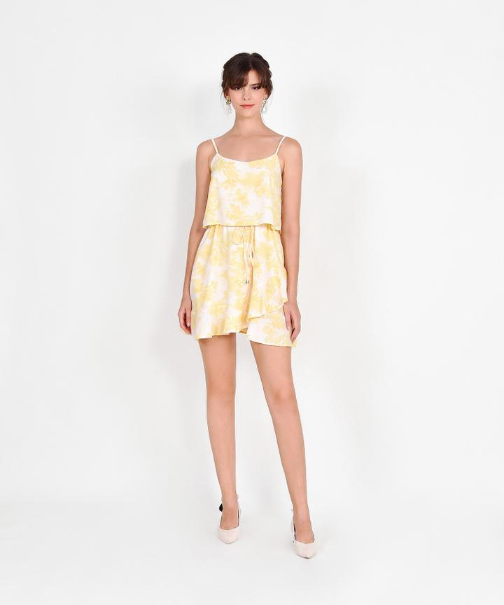 Elina Watercolour Drawstring Dress - Yellow