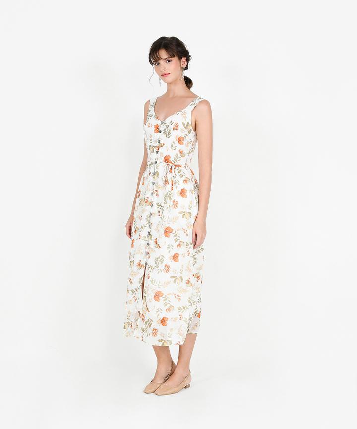 Loretta Floral Button Down Maxi - White