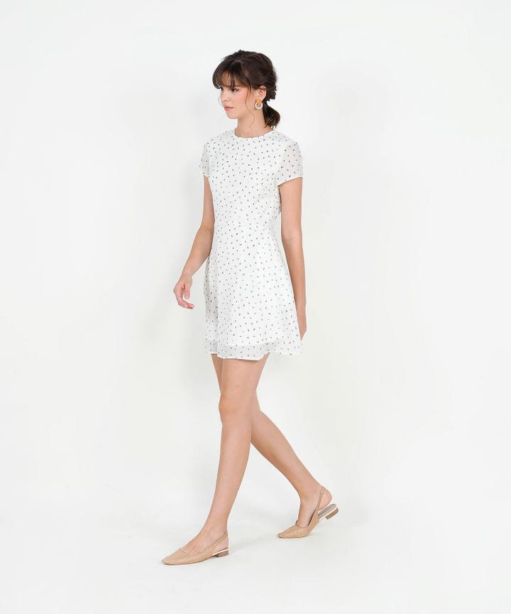 Natalia Printed Mini Dress - White