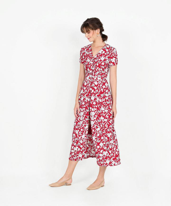Adalia Floral Maxi - Garnet