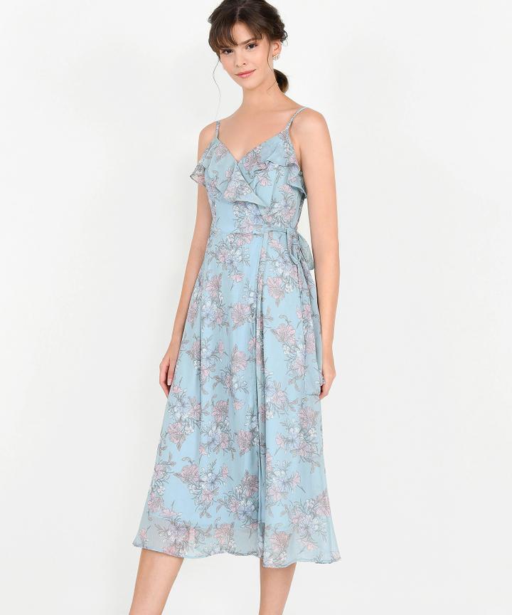 Emmeline Floral Overlay Midi Dress - Pale Blue