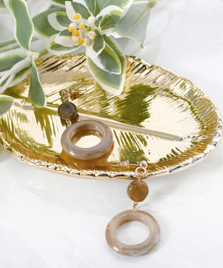 Tropikalia Circle Drop Earrings - Brown
