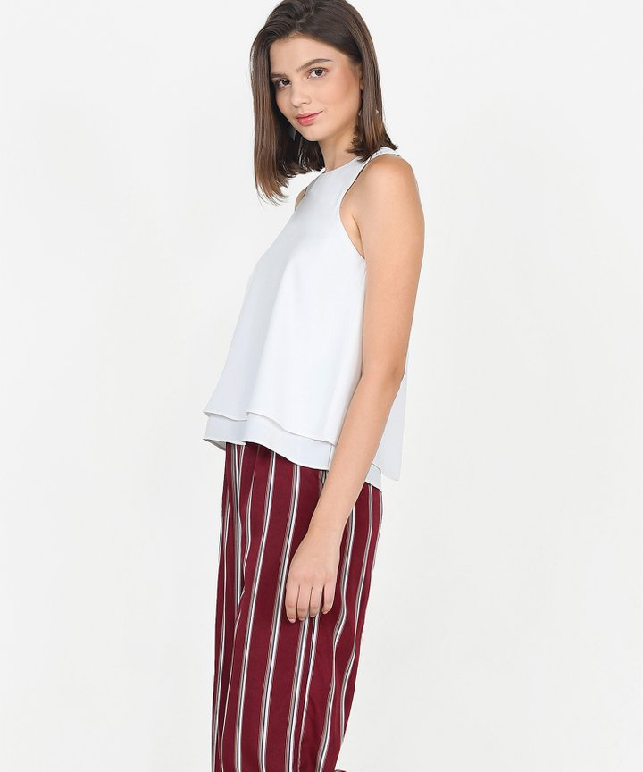 Marcello Striped Trousers - Maroon