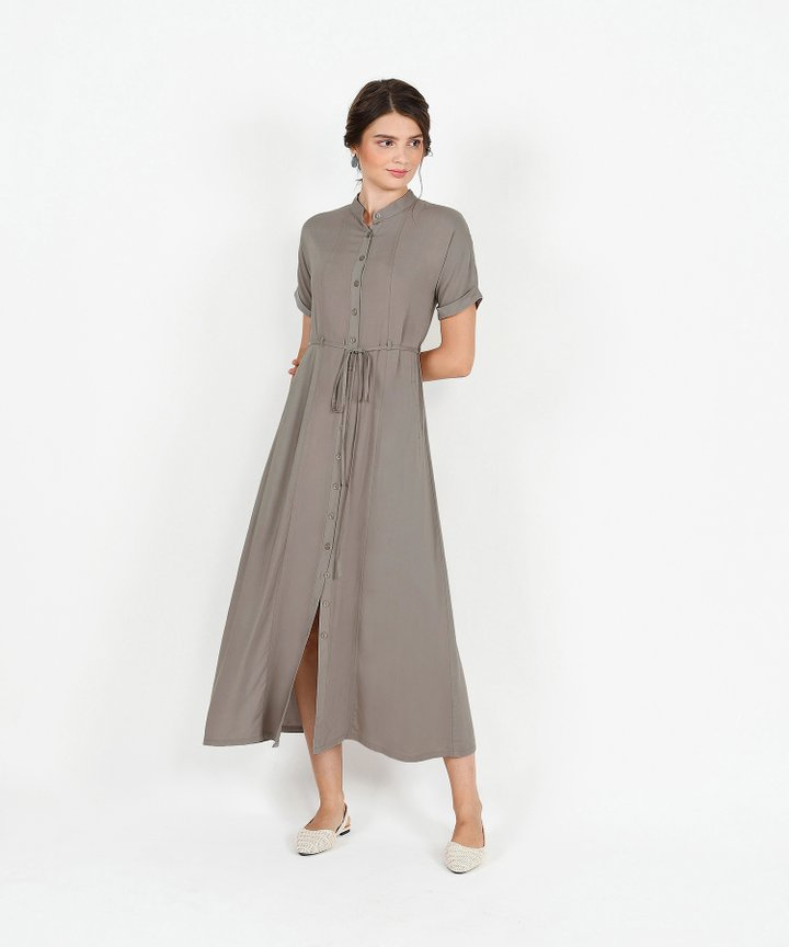 Joie Maxi Shirtdress - Taupe Grey