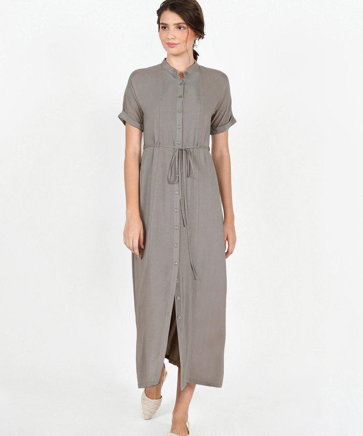 Joie Maxi Shirtdress - Taupe Grey