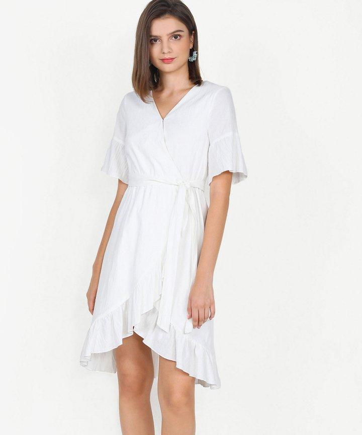 Gabriela Ruffle Overlay Dress - White