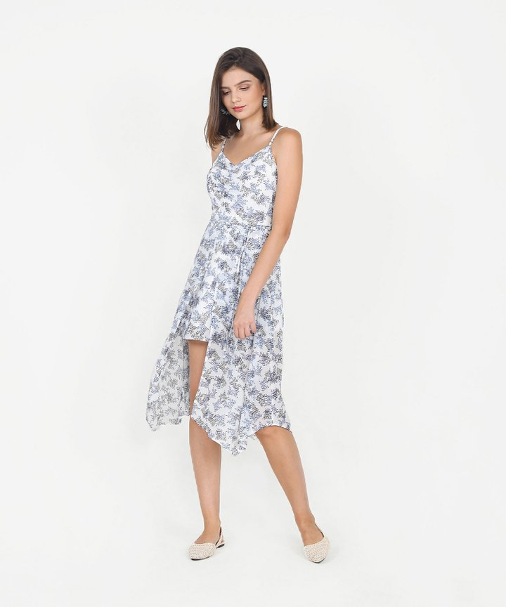Bijou Printed Asymmetrical Midi Dress - White