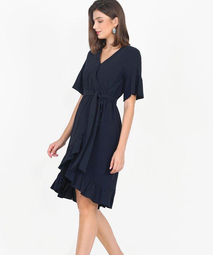 Gabriela Ruffle Overlay Dress - Midnight Blue