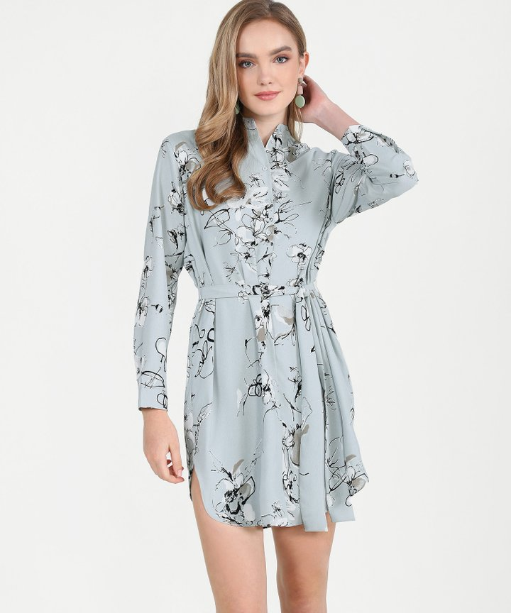 Clementine Floral Shirtdress - Pale Grey