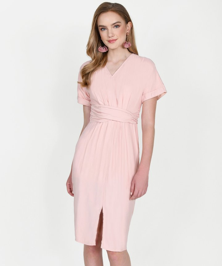 Sydney Belted Midi Dress - Blush