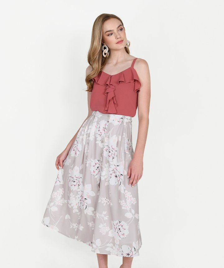 Keira Ruffle Top - Coral Rose